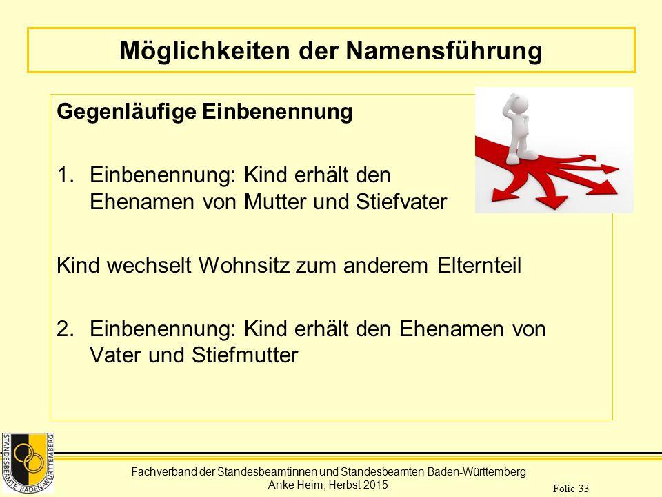 Fachverband der Standesbeamtinnen und Standesbeamten Baden-Württemberg Anke Heim, Herbst 2015 Folie 33 Möglichkeiten der Namensführung Gegenläufige Ei