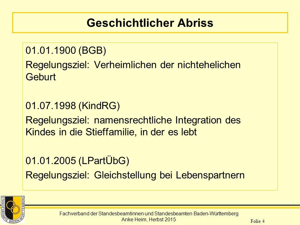 Fachverband der Standesbeamtinnen und Standesbeamten Baden-Württemberg Anke Heim, Herbst 2015 Folie 4 Geschichtlicher Abriss 01.01.1900 (BGB) Regelung
