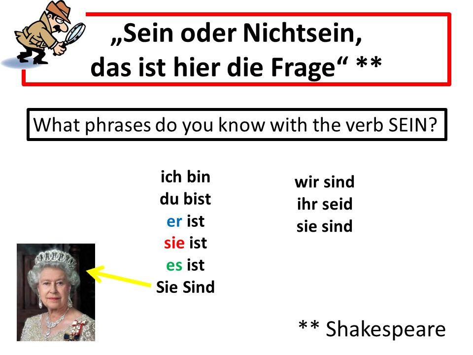 """""""Sein oder Nichtsein, das ist hier die Frage"""" ** ** Shakespeare ich bin du bist er ist sie ist es ist Sie Sind What phrases do you know with the verb"""