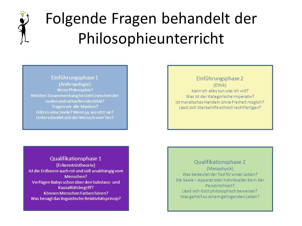 Folgende Fragen behandelt der Philosophieunterricht Einführungsphase 1 (Anthropologie) Wozu Philosophie? Welcher Zusammenhang besteht zwischen der rea