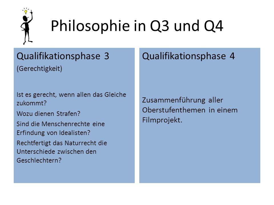 Philosophie in Q3 und Q4 Qualifikationsphase 3 (Gerechtigkeit) Ist es gerecht, wenn allen das Gleiche zukommt? Wozu dienen Strafen? Sind die Menschenr