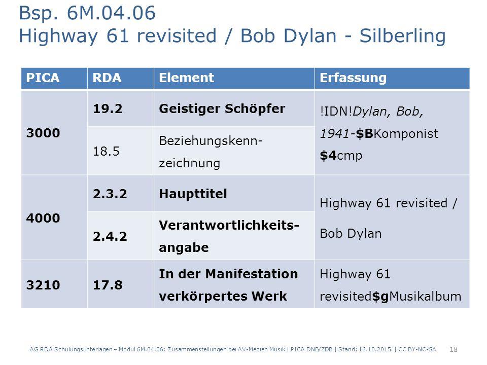 PICARDAElementErfassung 3000 19.2Geistiger Schöpfer !IDN!Dylan, Bob, 1941-$BKomponist $4cmp 18.5 Beziehungskenn- zeichnung 4000 2.3.2Haupttitel Highway 61 revisited / Bob Dylan 2.4.2 Verantwortlichkeits- angabe 321017.8 In der Manifestation verkörpertes Werk Highway 61 revisited$gMusikalbum Bsp.