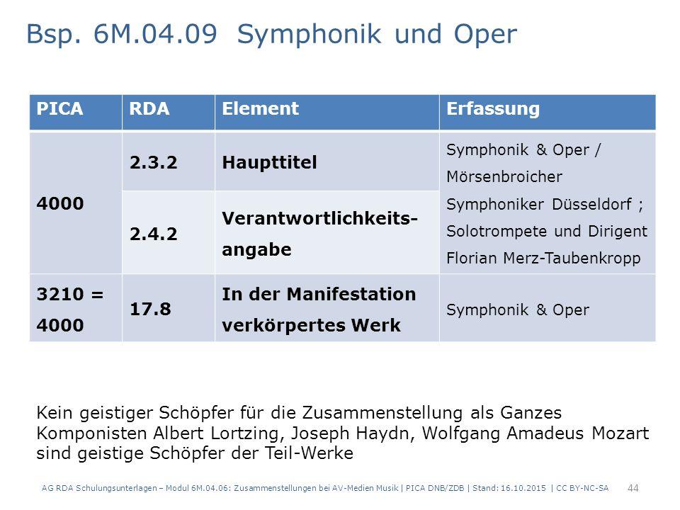 PICARDAElementErfassung 4000 2.3.2Haupttitel Symphonik & Oper / Mörsenbroicher Symphoniker Düsseldorf ; Solotrompete und Dirigent Florian Merz-Taubenkropp 2.4.2 Verantwortlichkeits- angabe 3210 = 4000 17.8 In der Manifestation verkörpertes Werk Symphonik & Oper Bsp.