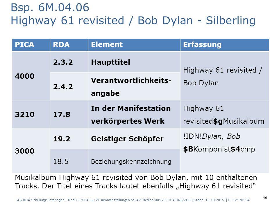 46 PICARDAElementErfassung 4000 2.3.2Haupttitel Highway 61 revisited / Bob Dylan 2.4.2 Verantwortlichkeits- angabe 321017.8 In der Manifestation verkörpertes Werk Highway 61 revisited$gMusikalbum 3000 19.2Geistiger Schöpfer !IDN!Dylan, Bob $BKomponist$4cmp 18.5 Beziehungskennzeichnung Bsp.
