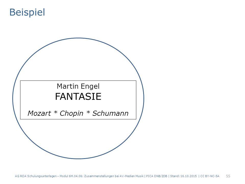 AG RDA Schulungsunterlagen – Modul 6M.04.06: Zusammenstellungen bei AV-Medien Musik | PICA DNB/ZDB | Stand: 16.10.2015 | CC BY-NC-SA Martin Engel FANTASIE Mozart * Chopin * Schumann Beispiel 55