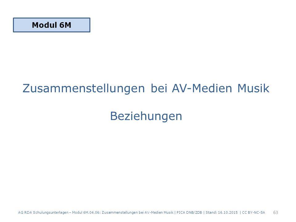 Zusammenstellungen bei AV-Medien Musik Beziehungen Modul 6M 63 AG RDA Schulungsunterlagen – Modul 6M.04.06: Zusammenstellungen bei AV-Medien Musik | PICA DNB/ZDB | Stand: 16.10.2015 | CC BY-NC-SA