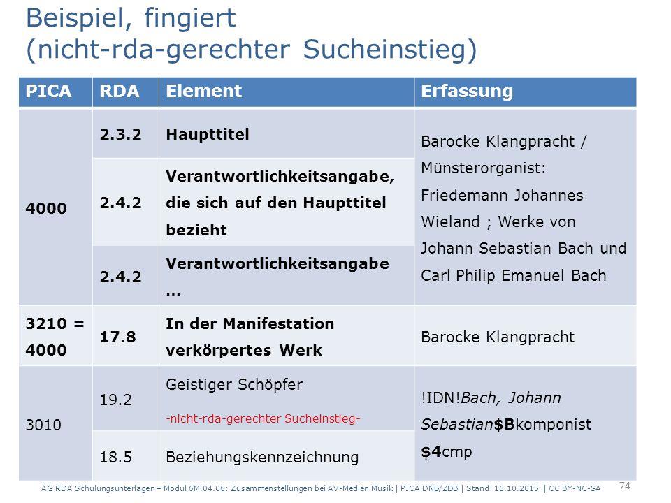 PICARDAElementErfassung 4000 2.3.2Haupttitel Barocke Klangpracht / Münsterorganist: Friedemann Johannes Wieland ; Werke von Johann Sebastian Bach und Carl Philip Emanuel Bach 2.4.2 Verantwortlichkeitsangabe, die sich auf den Haupttitel bezieht 2.4.2 Verantwortlichkeitsangabe … 3210 = 4000 17.8 In der Manifestation verkörpertes Werk Barocke Klangpracht 3010 19.2 Geistiger Schöpfer -nicht-rda-gerechter Sucheinstieg- !IDN!Bach, Johann Sebastian$Bkomponist $4cmp 18.5Beziehungskennzeichnung Beispiel, fingiert (nicht-rda-gerechter Sucheinstieg) 74 AG RDA Schulungsunterlagen – Modul 6M.04.06: Zusammenstellungen bei AV-Medien Musik | PICA DNB/ZDB | Stand: 16.10.2015 | CC BY-NC-SA