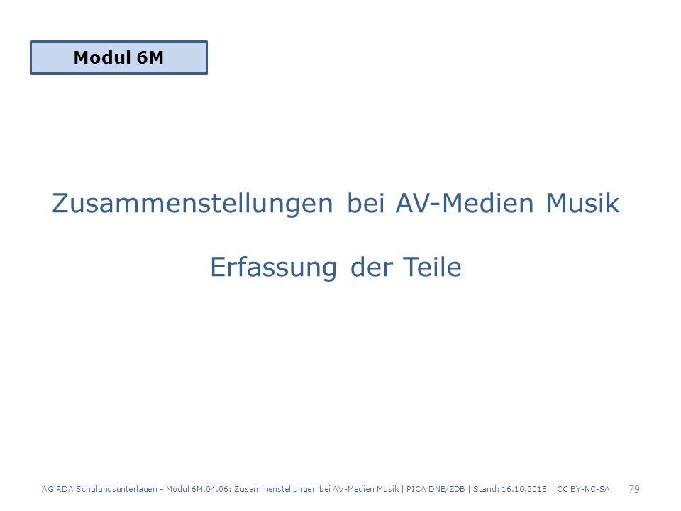 Zusammenstellungen bei AV-Medien Musik Erfassung der Teile Modul 6M 79 AG RDA Schulungsunterlagen – Modul 6M.04.06: Zusammenstellungen bei AV-Medien Musik | PICA DNB/ZDB | Stand: 16.10.2015 | CC BY-NC-SA