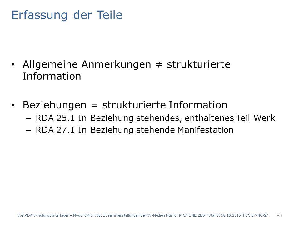 Erfassung der Teile Allgemeine Anmerkungen ≠ strukturierte Information Beziehungen = strukturierte Information – RDA 25.1 In Beziehung stehendes, enthaltenes Teil-Werk – RDA 27.1 In Beziehung stehende Manifestation AG RDA Schulungsunterlagen – Modul 6M.04.06: Zusammenstellungen bei AV-Medien Musik | PICA DNB/ZDB | Stand: 16.10.2015 | CC BY-NC-SA 83