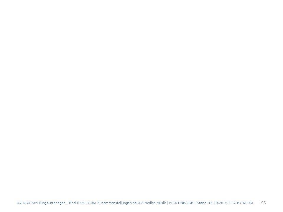 AG RDA Schulungsunterlagen – Modul 6M.04.06: Zusammenstellungen bei AV-Medien Musik | PICA DNB/ZDB | Stand: 16.10.2015 | CC BY-NC-SA 95