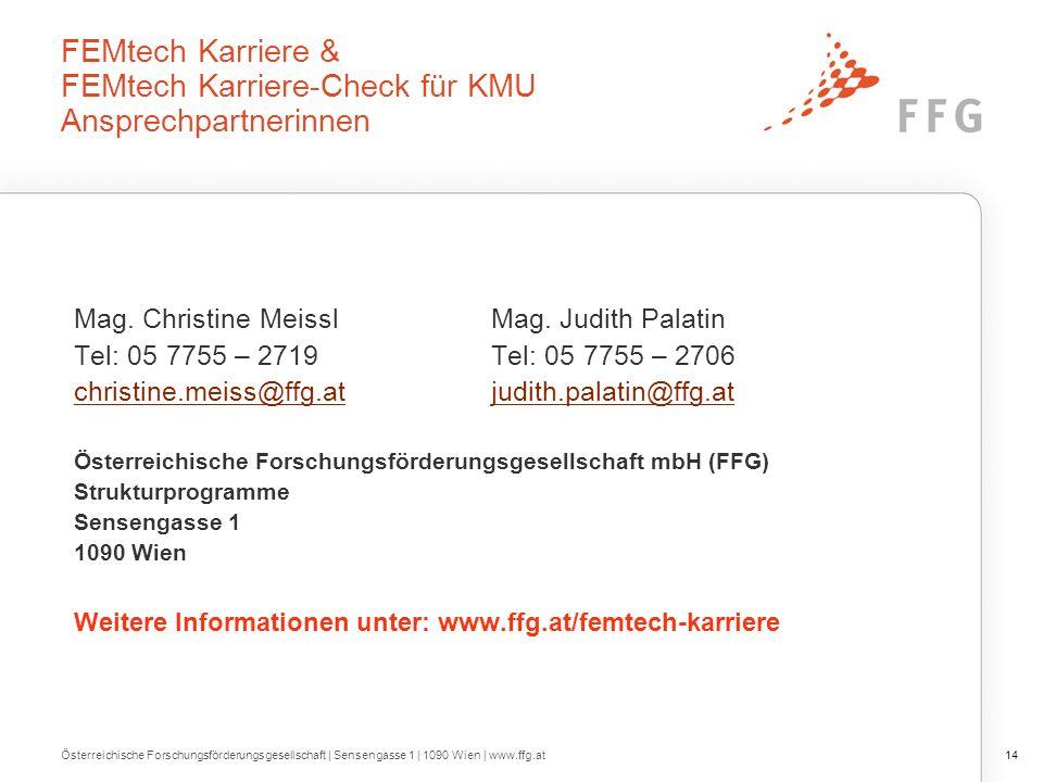 FEMtech Karriere & FEMtech Karriere-Check für KMU Ansprechpartnerinnen Mag.