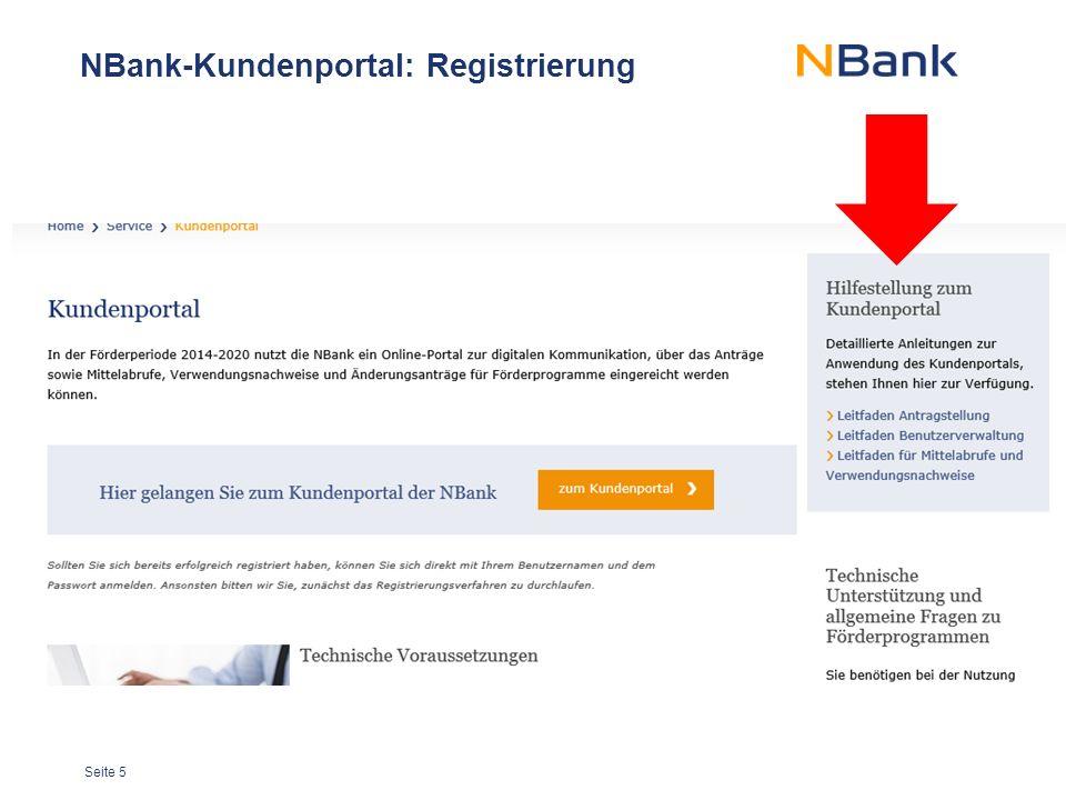 Seite 5 NBank-Kundenportal: Registrierung