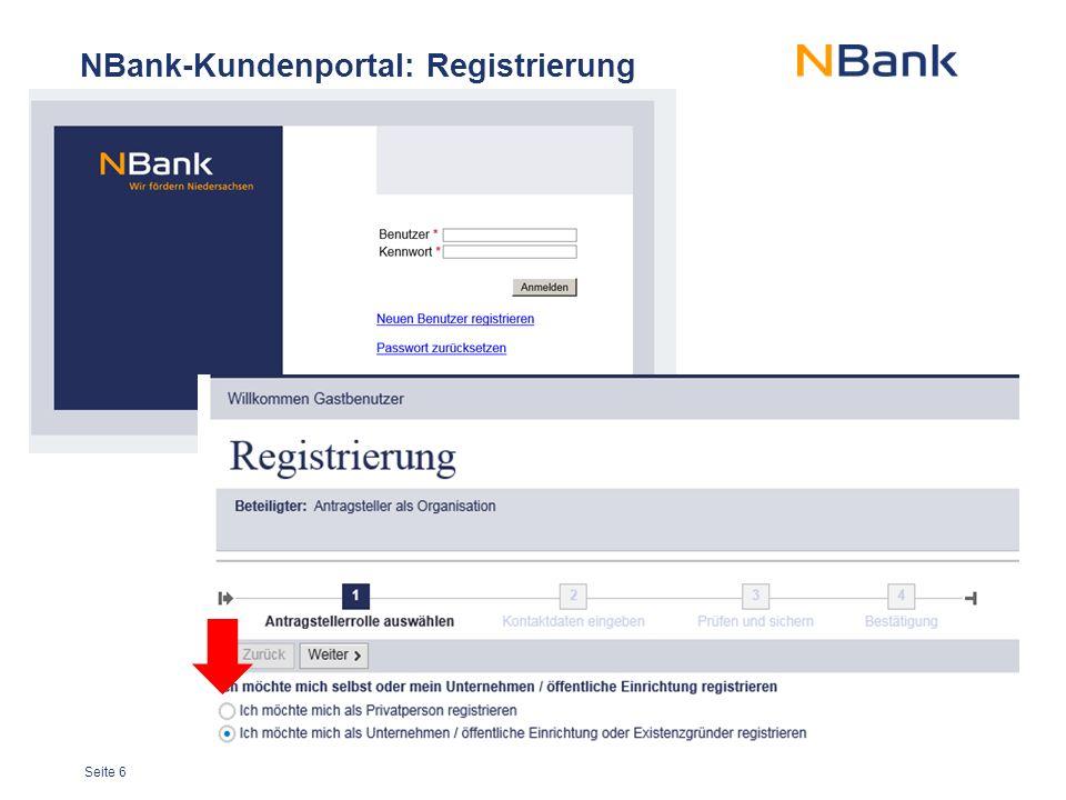 Seite 6 NBank-Kundenportal: Registrierung