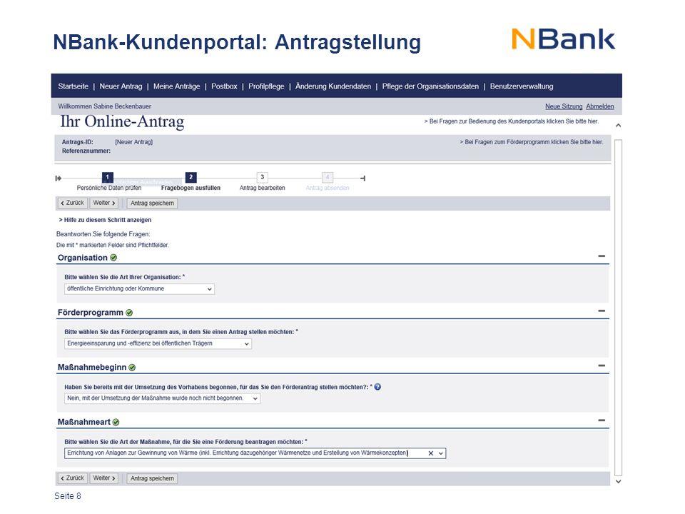 Seite 8 NBank-Kundenportal: Antragstellung