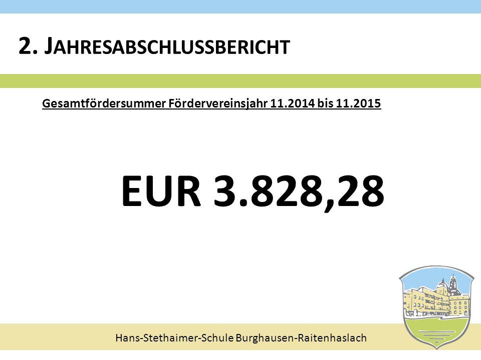 Hans-Stethaimer-Schule Burghausen-Raitenhaslach Gesamtfördersummer Fördervereinsjahr 11.2014 bis 11.2015 EUR 3.828,28 2. J AHRESABSCHLUSSBERICHT