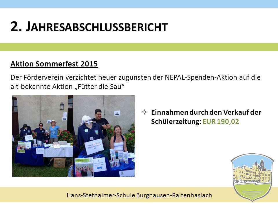 Hans-Stethaimer-Schule Burghausen-Raitenhaslach Aktion Sommerfest 2015 Der Förderverein verzichtet heuer zugunsten der NEPAL-Spenden-Aktion auf die al
