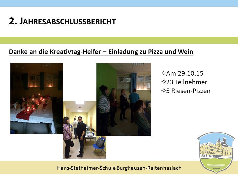 Hans-Stethaimer-Schule Burghausen-Raitenhaslach Danke an die Kreativtag-Helfer – Einladung zu Pizza und Wein  Am 29.10.15  23 Teilnehmer  5 Riesen-