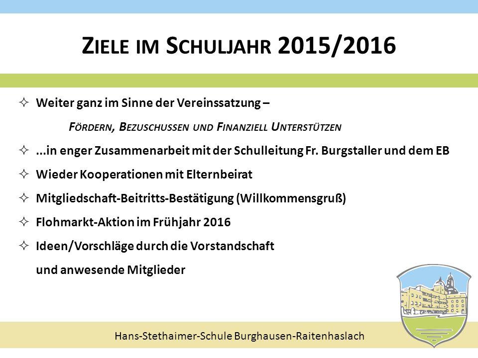 Hans-Stethaimer-Schule Burghausen-Raitenhaslach  Weiter ganz im Sinne der Vereinssatzung – F ÖRDERN, B EZUSCHUSSEN UND F INANZIELL U NTERSTÜTZEN ...