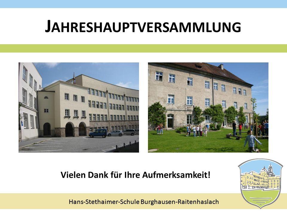 Hans-Stethaimer-Schule Burghausen-Raitenhaslach J AHRESHAUPTVERSAMMLUNG Vielen Dank für Ihre Aufmerksamkeit! Hans-Stethaimer-Schule Burghausen-Raitenh