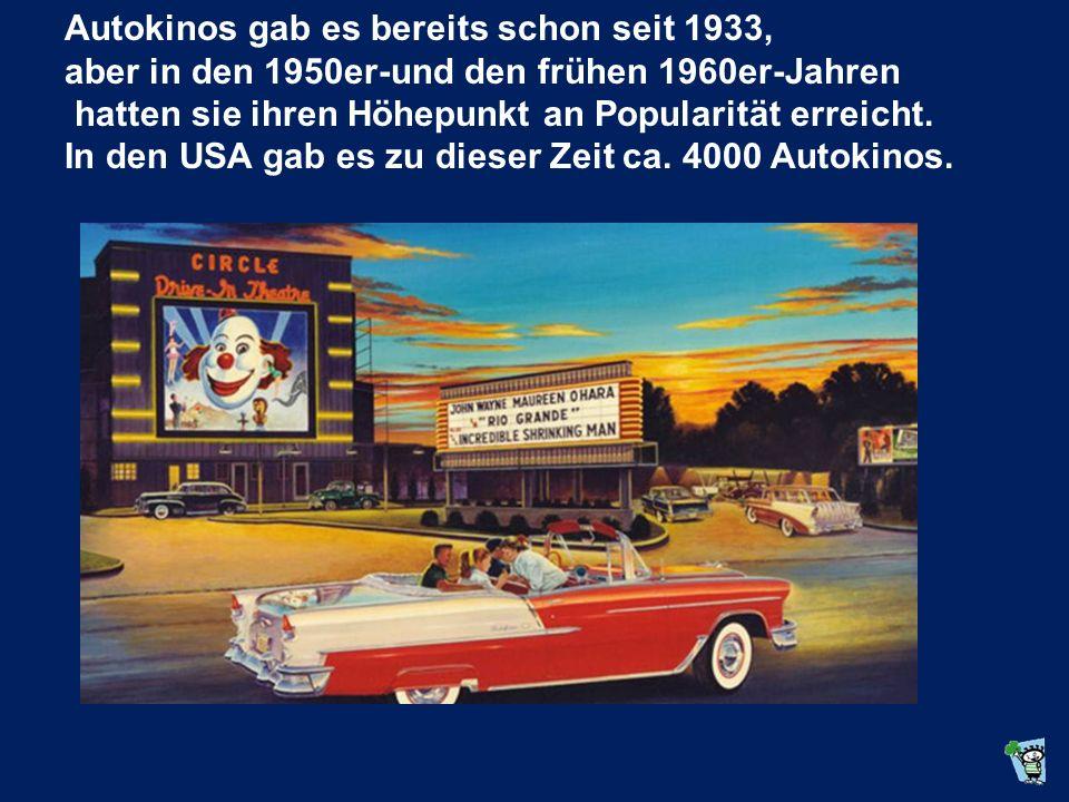Autokinos gab es bereits schon seit 1933, aber in den 1950er-und den frühen 1960er-Jahren hatten sie ihren Höhepunkt an Popularität erreicht.
