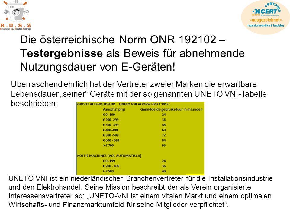 Die österreichische Norm ONR 192102 – Testergebnisse als Beweis für abnehmende Nutzungsdauer von E-Geräten.