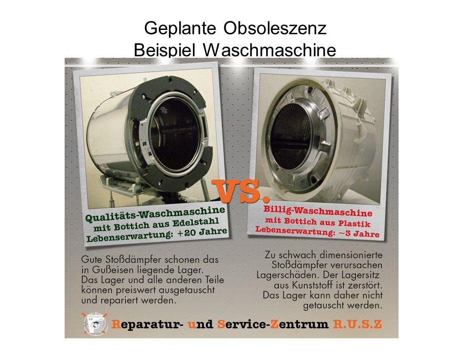 Geplante Obsoleszenz Beispiel Waschmaschine