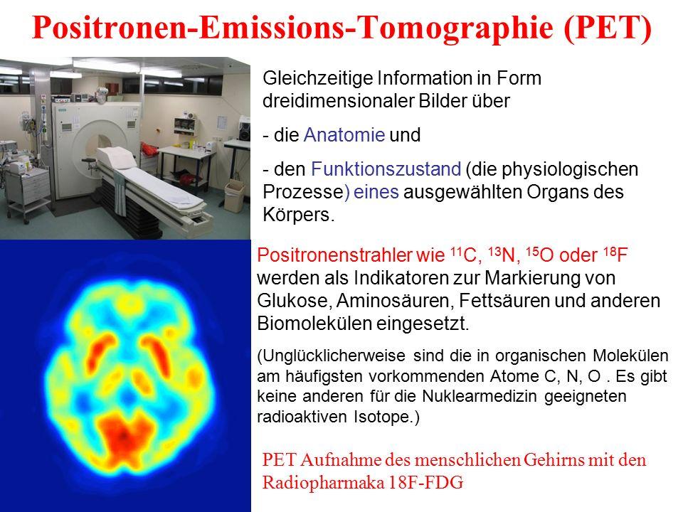 Positronen-Emissions-Tomographie (PET) Gleichzeitige Information in Form dreidimensionaler Bilder über - die Anatomie und - den Funktionszustand (die