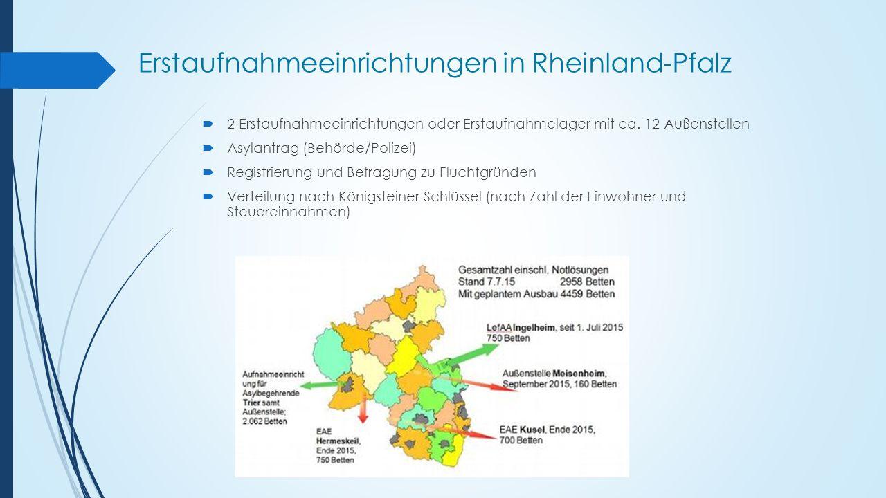 Erstaufnahmeeinrichtungen in Rheinland-Pfalz  2 Erstaufnahmeeinrichtungen oder Erstaufnahmelager mit ca. 12 Außenstellen  Asylantrag (Behörde/Polize