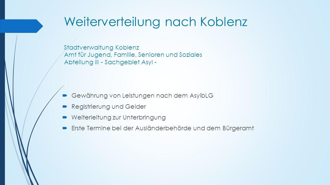 Weiterverteilung nach Koblenz Stadtverwaltung Koblenz Amt für Jugend, Familie, Senioren und Soziales Abteilung III - Sachgebiet Asyl -  Gewährung von