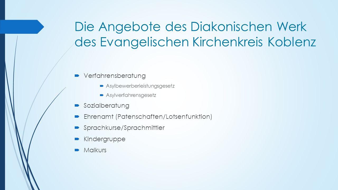 Die Angebote des Diakonischen Werk des Evangelischen Kirchenkreis Koblenz  Verfahrensberatung  Asylbewerberleistungsgesetz  Asylverfahrensgesetz 