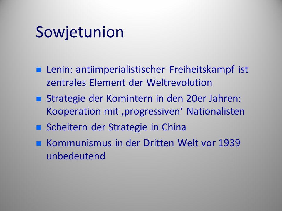 Sowjetunion Lenin: antiimperialistischer Freiheitskampf ist zentrales Element der Weltrevolution Strategie der Komintern in den 20er Jahren: Kooperati