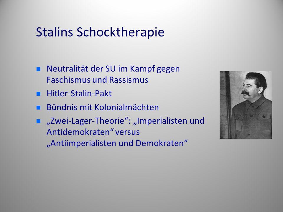 """Stalins Schocktherapie Neutralität der SU im Kampf gegen Faschismus und Rassismus Hitler-Stalin-Pakt Bündnis mit Kolonialmächten """"Zwei-Lager-Theorie"""":"""