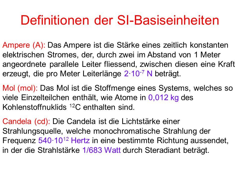 Definitionen der SI-Basiseinheiten Ampere (A): Das Ampere ist die Stärke eines zeitlich konstanten elektrischen Stromes, der, durch zwei im Abstand vo