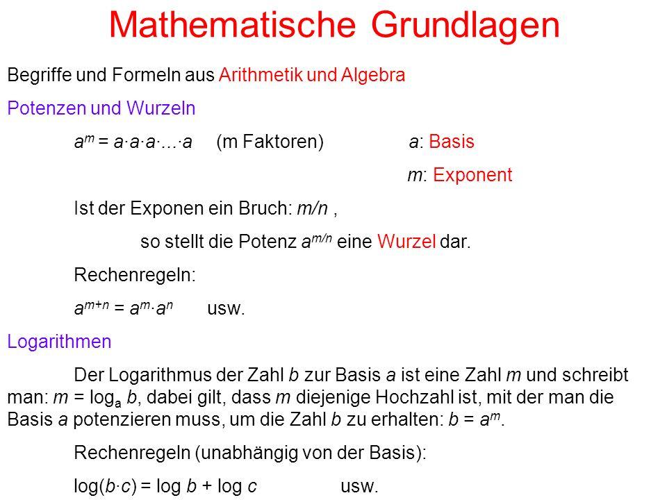 Mathematische Grundlagen Begriffe und Formeln aus Arithmetik und Algebra Potenzen und Wurzeln a m = a·a·a·...·a (m Faktoren) a: Basis m: Exponent Ist