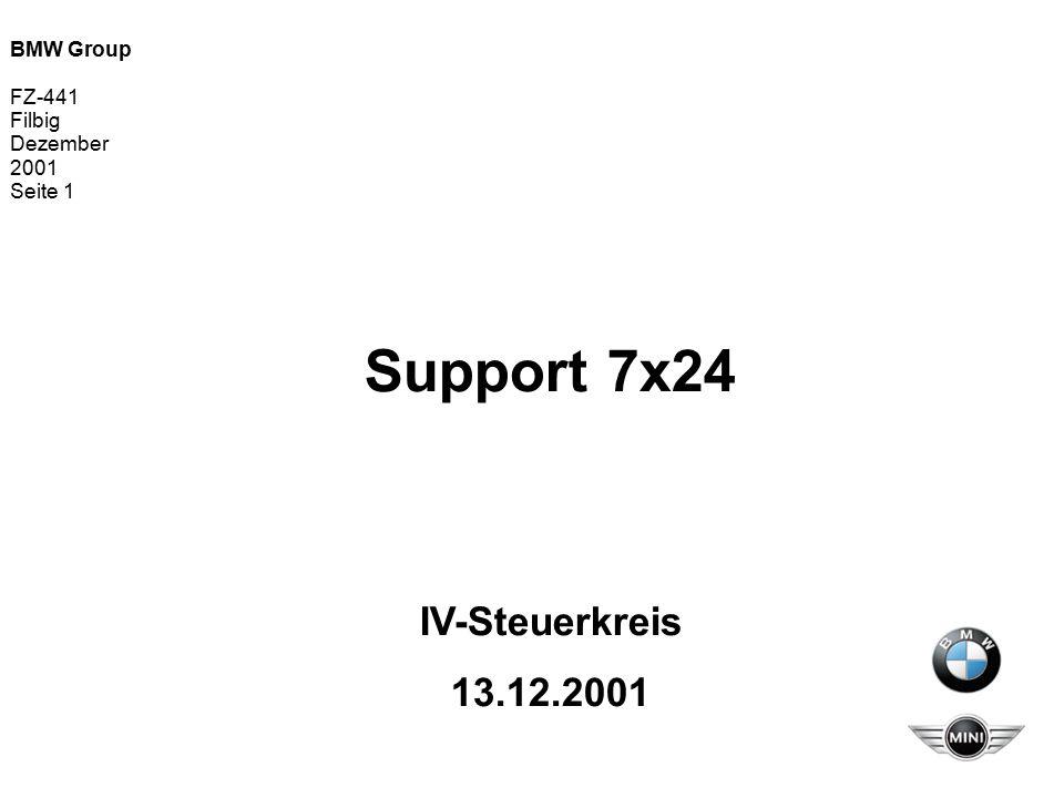 BMW Group FZ-441 Filbig Dezember 2001 Seite 2 Support 7x24 Gegenstand der IVS-Vorlage  Darstellung des Handlungsbedarfs  Information an alle IT-Bereiche über Inhalte und Zielsetzung des Projektes  Aktueller Status des Projektes  Empfehlung an den IVS