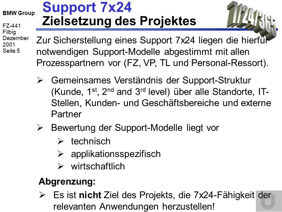BMW Group FZ-441 Filbig Dezember 2001 Seite 5 Support 7x24 Zielsetzung des Projektes  Gemeinsames Verständnis der Support-Struktur (Kunde, 1 st, 2 nd