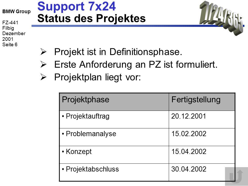 BMW Group FZ-441 Filbig Dezember 2001 Seite 6 Support 7x24 Status des Projektes  Projekt ist in Definitionsphase.  Erste Anforderung an PZ ist formu