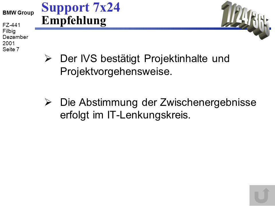 BMW Group FZ-441 Filbig Dezember 2001 Seite 8 Support 7x24 Projektplan kickoff jourfix Workshop Abnahme Problemanalyse Vorhandene Betriebsmodelle: IST - OO-E - Werk - Serverbetrieb bei FZ -Referenzmo- delle durch Gartner - Anforderungs- katalog Meilensteine BMW-Referenzmodell Interne Abstimmung + Verfeinerung + Bewertung Rahmenbedingungen: - ITIL - 24/7 in Abstufungen: Reaktions- zeiten Betriebs- zeiten Legende: Abnahme Konzept