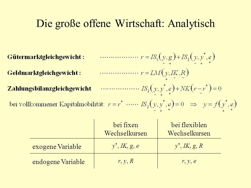Die große offene Wirtschaft: Analytisch bei fixen Wechselkursen bei flexiblen Wechselkursen exogene Variable y *, IK, g, ey *, IK, g, R endogene Varia