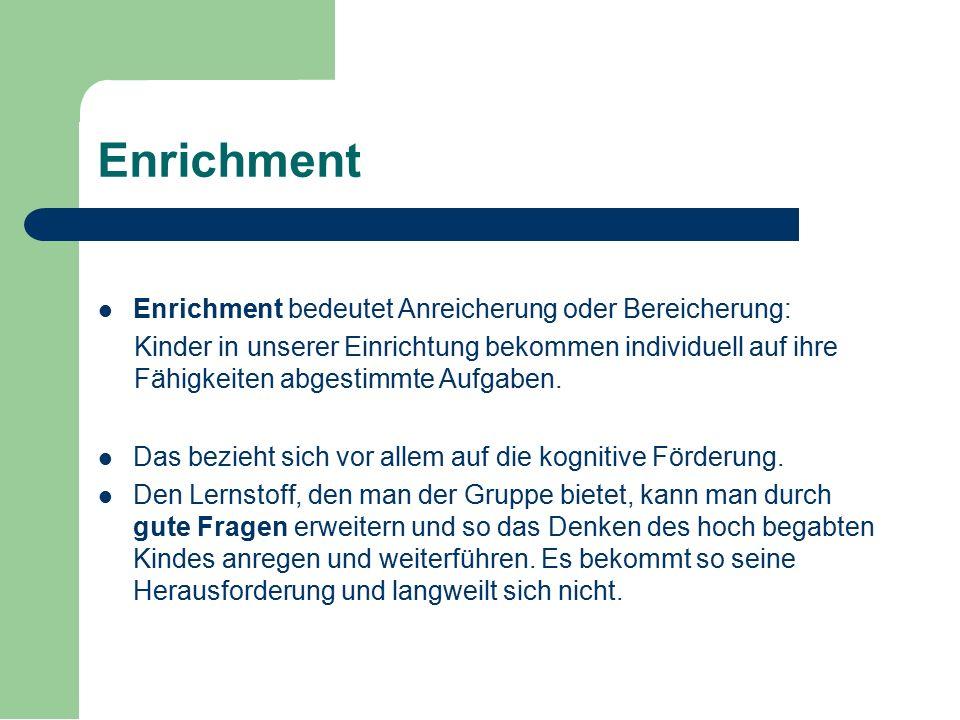 Enrichment Enrichment bedeutet Anreicherung oder Bereicherung: Kinder in unserer Einrichtung bekommen individuell auf ihre Fähigkeiten abgestimmte Auf