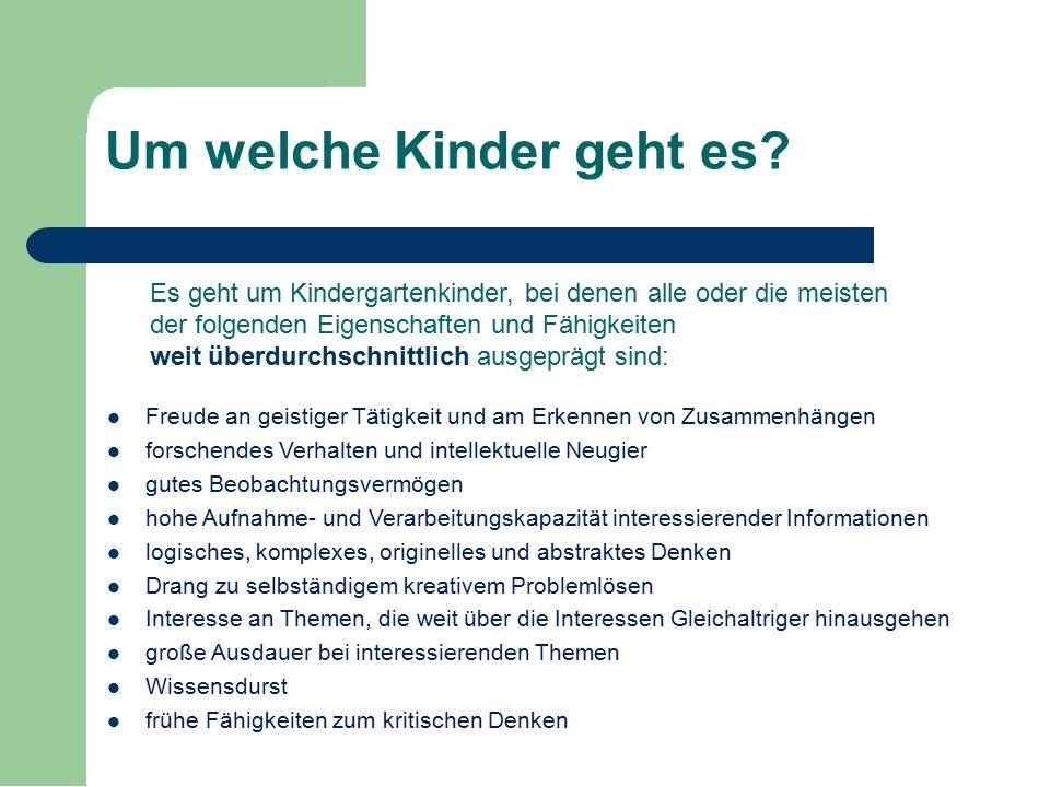 Um welche Kinder geht es? Freude an geistiger Tätigkeit und am Erkennen von Zusammenhängen forschendes Verhalten und intellektuelle Neugier gutes Beob
