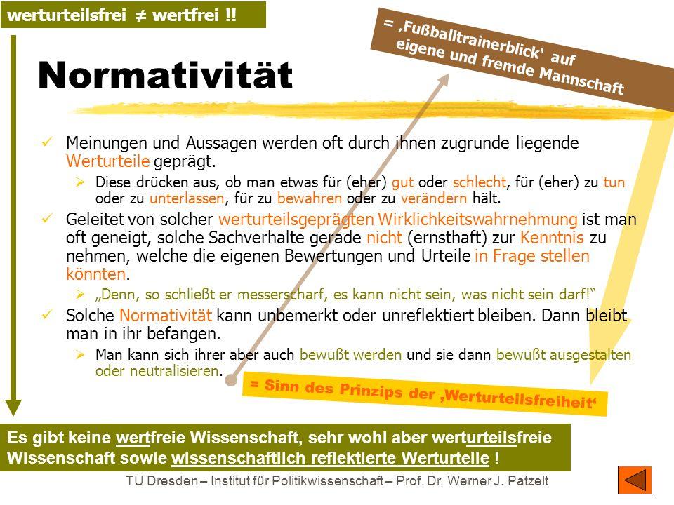 TU Dresden – Institut für Politikwissenschaft – Prof. Dr. Werner J. Patzelt Normativität Meinungen und Aussagen werden oft durch ihnen zugrunde liegen