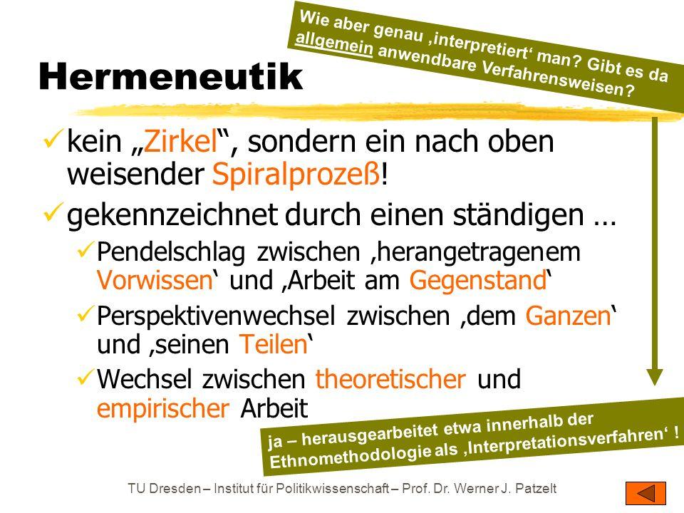"""TU Dresden – Institut für Politikwissenschaft – Prof. Dr. Werner J. Patzelt Hermeneutik kein """"Zirkel"""", sondern ein nach oben weisender Spiralprozeß! g"""