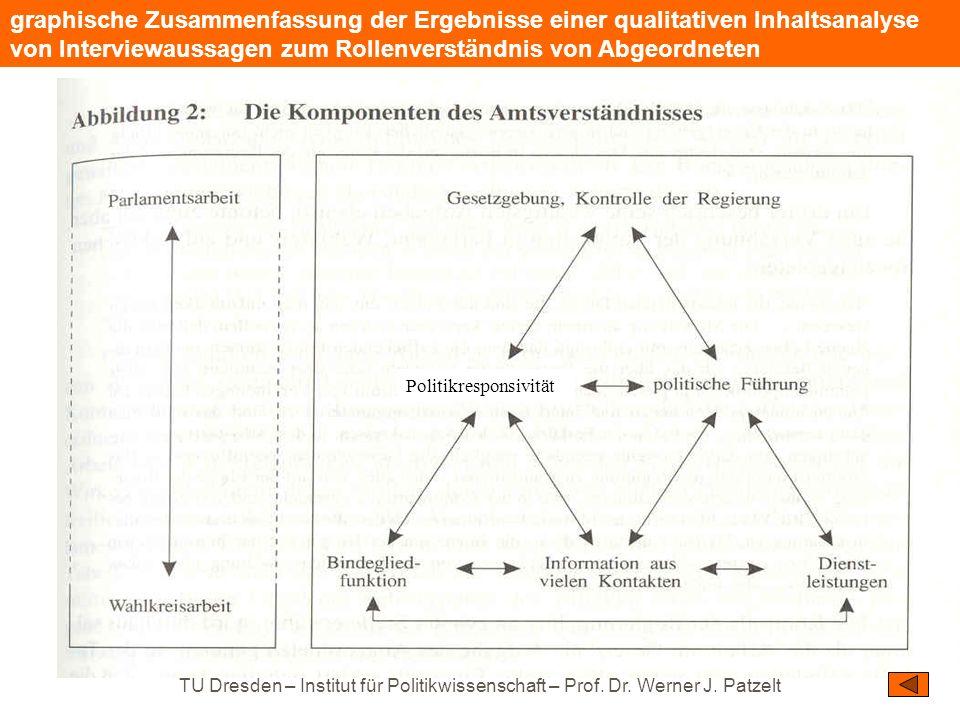 TU Dresden – Institut für Politikwissenschaft – Prof. Dr. Werner J. Patzelt graphische Zusammenfassung der Ergebnisse einer qualitativen Inhaltsanalys