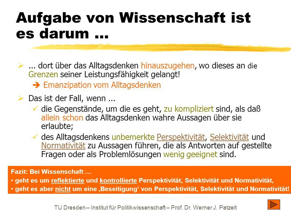 TU Dresden – Institut für Politikwissenschaft – Prof. Dr. Werner J. Patzelt Aufgabe von Wissenschaft ist es darum... ... dort über das Alltagsdenken