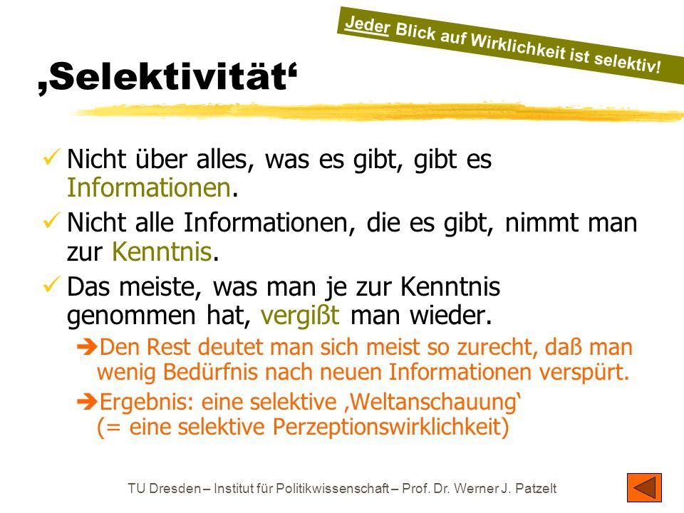 TU Dresden – Institut für Politikwissenschaft – Prof. Dr. Werner J. Patzelt 'Selektivität' Nicht über alles, was es gibt, gibt es Informationen. Nicht
