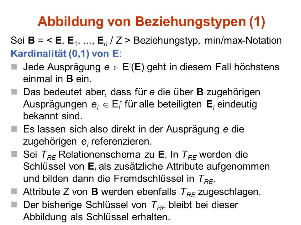 Sei B = Beziehungstyp, min/max-Notation Kardinalität (0,1) von E: Jede Ausprägung e  E t (E) geht in diesem Fall höchstens einmal in B ein.