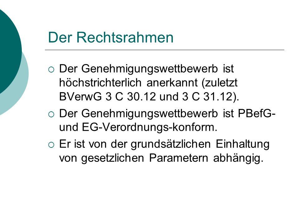 Der Rechtsrahmen  Personenbeförderungsgesetz (PBefG)  VO (EG) Nr.