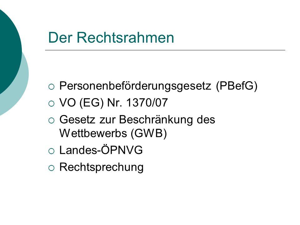 Der Rechtsrahmen  Personenbeförderungsgesetz (PBefG)  VO (EG) Nr. 1370/07  Gesetz zur Beschränkung des Wettbewerbs (GWB)  Landes-ÖPNVG  Rechtspre