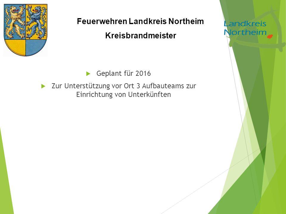 Feuerwehren Landkreis Northeim Kreisbrandmeister  Geplant für 2016  Zur Unterstützung vor Ort 3 Aufbauteams zur Einrichtung von Unterkünften